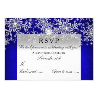 "Blue Crystal Pearl Snowflake Silver Winter RSVP 3.5"" X 5"" Invitation Card"