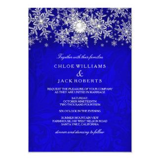 "Blue Crystal Pearl Snowflake Silver Winter Wedding 5"" X 7"" Invitation Card"