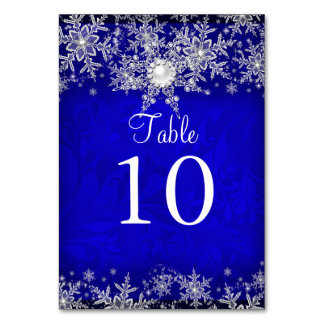 Blue Crystal Pearl Snowflake Table Number Card Table Cards