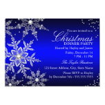 "Blue Crystal Snowflake Christmas Dinner Party 5"" X 7"" Invitation Card"