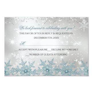 "Blue Crystal Snowflake Christmas Party RSVP 3.5"" X 5"" Invitation Card"