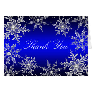 Blue Crystal Snowflake Christmas Thank You Card