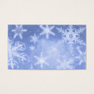 Blue Crystalline Snowflake Gift Tag Business Card