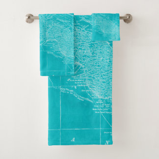 Blue Cuba Map Bath Towel Set