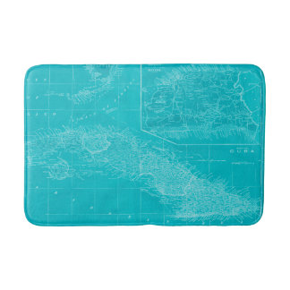 Blue Cuba Map Bathroom Mat