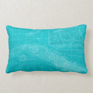 Blue Cuba Map Lumbar Pillow
