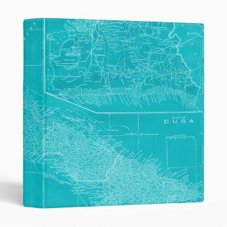 Blue Cuba Map Vinyl Binder