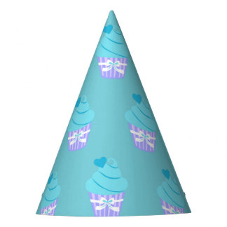 Blue cup cake feesthoedje party hat