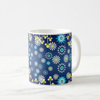Blue cup of rustic flowers