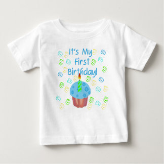 Blue Cupcake 1st Birthday Baby T-Shirt