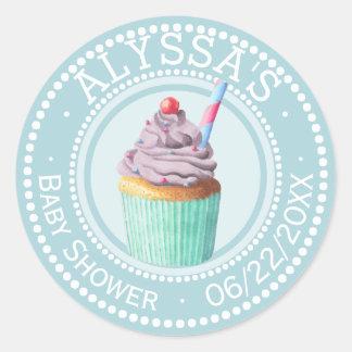 Blue Cupcake Baby Shower Monogram | Personalized Classic Round Sticker