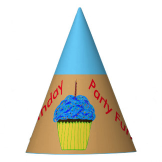 Blue Cupcake Balloons Party Hats