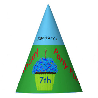 Blue Cupcake Personalized Birthday Hats