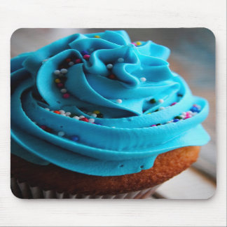 Blue Cupcake Photograph Mouse Pad