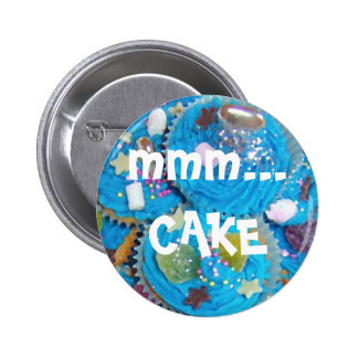 Blue Cupcakes 'mmm... CAKE' button badge