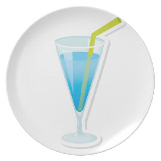Blue curacao cocktail plate