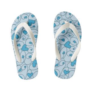 Blue curly hearts kid's flip flops