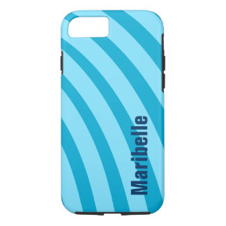 """Blue Curving Stripes """"Add Your Name"""" iPhone 7 Case"""