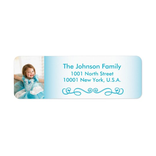 Blue Custom Christmas Photo Return Address Labels