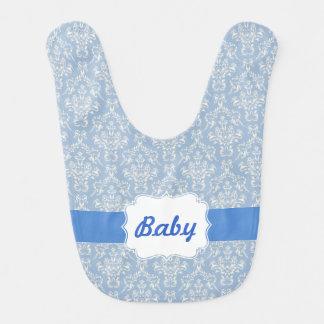 Blue Custom Damask Baby Bib
