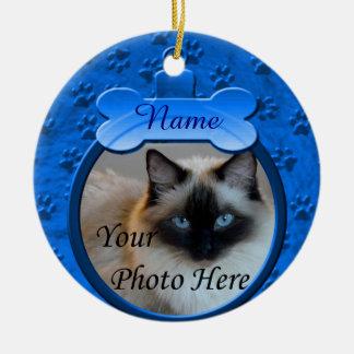 Blue Custom Dog or Cat Memorial Round Ceramic Ornament