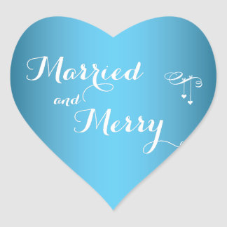 Blue Custom Married And Merry Christmas Stickers
