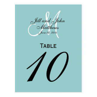 Blue Custom Monogram Wedding Table Number Postcard