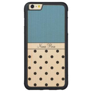 Blue Custom Name, Black Polka Dots Carved Maple iPhone 6 Plus Bumper Case