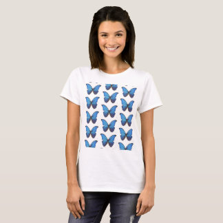 BLUE CUTE  BUTTERFLIES  Basic T-Shirt, White T-Shirt