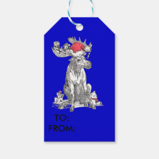 Blue Cute Christmas Sitting Moose with Gifts Gift Tags
