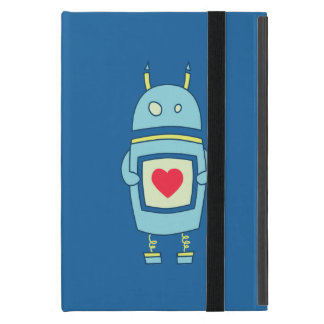 Blue Cute Clumsy Robot With Heart Folio Case For iPad Mini
