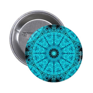 Blue cute detailed mandala 2 inch round button