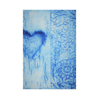 Blue cute heart and flowers Stretched Canvas Print