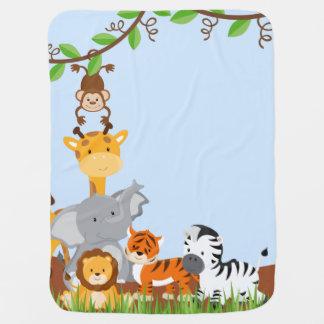 Blue Cute Jungle Baby Animal Baby Blanket