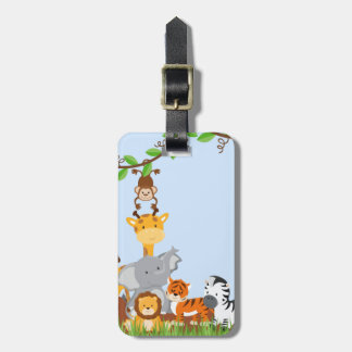 Blue Cute Jungle Baby Animals Luggage Tag