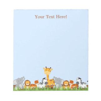 Blue Cute Jungle Baby Animals Notepad