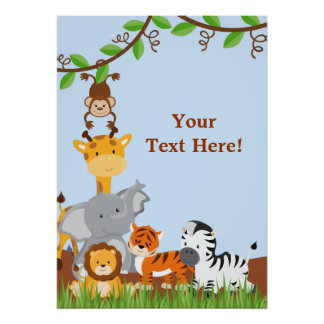 Blue Cute Jungle Baby Animals Poster