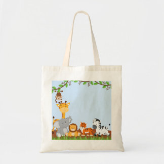 Blue Cute Jungle Baby Animals Tote Bags