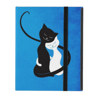 Blue Cute White And Black Cats In Love Folio iPad Cover
