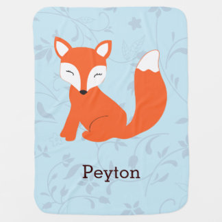 Blue Cute Woodland Fox Baby Blanket
