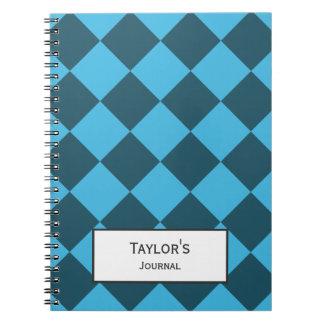 Blue Cyan Diamond Geometric Pattern Custom Notebook