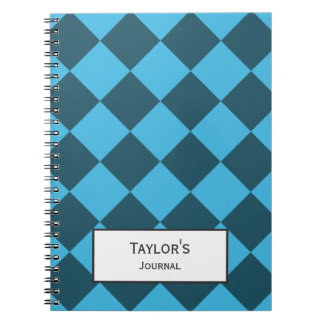 Blue Cyan Diamond Geometric Pattern Custom Spiral Notebook
