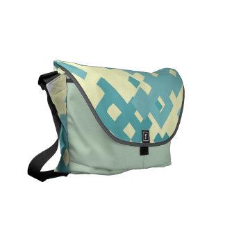 Blue Cyan Pixel Pattern Messenger Bags
