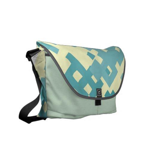 Blue & Cyan Pixel Pattern Messenger Bags