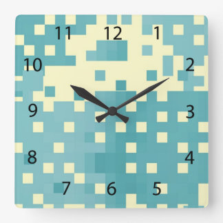 Blue & Cyan Pixel Pattern Square Wall Clock