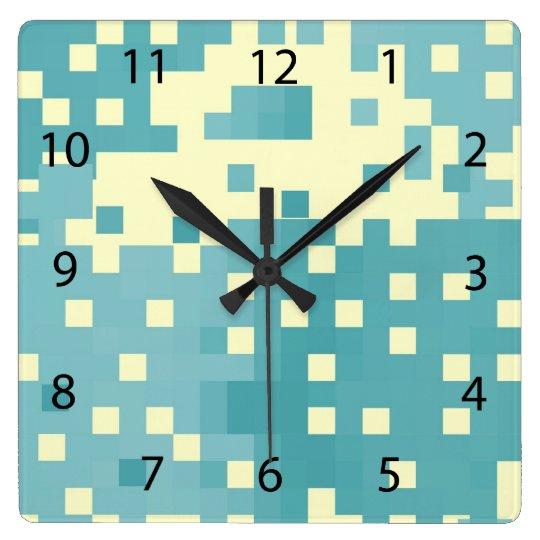 Blue & Cyan Pixel Pattern Square Wall Clock