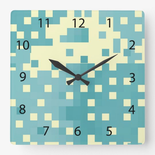Blue & Cyan Pixel Pattern Wallclocks