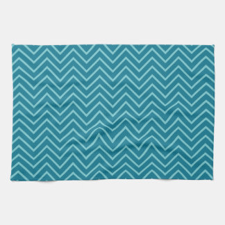Blue/cyan zig zag pattern kitchen towel