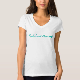 Blue Dachshund Mom Tee Shirt