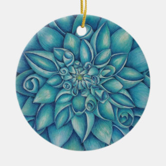Blue Dahlia Ceramic Ornament